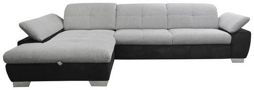 WOHNLANDSCHAFT Grau, Schwarz Flachgewebe - Chromfarben/Schwarz, Design, Textil/Metall (204/297cm) - Xora