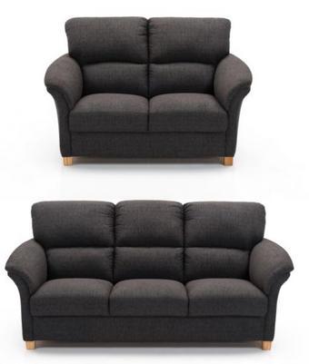 SOFFGRUPP - grå/ekfärgad, Lifestyle, trä/textil (205/150/104/96cm) - Hjort Knudsen