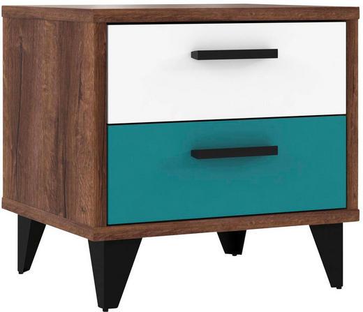 NOČNÍ STOLEK, barvy dubu, bílá, zelená - bílá/černá, Design, kompozitní dřevo/umělá hmota (49,8/48,4/41,5cm) - Carryhome