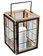LATERNE - Schwarz/Kieferfarben, Basics, Glas/Holz (21,5/35,5/21,5cm) - Ambia Home