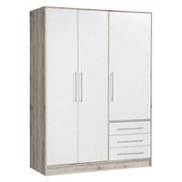 OMARA ZA OBLAČILA, bela, hrast  - aluminij/bela, Basics, umetna masa/leseni material (145/200/60cm) - Carryhome