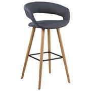 BAROVÁ ŽIDLE, textilie, tmavě šedá, - barvy dubu/tmavě šedá, Design, dřevo/textilie (55/98/46,5cm) - Carryhome