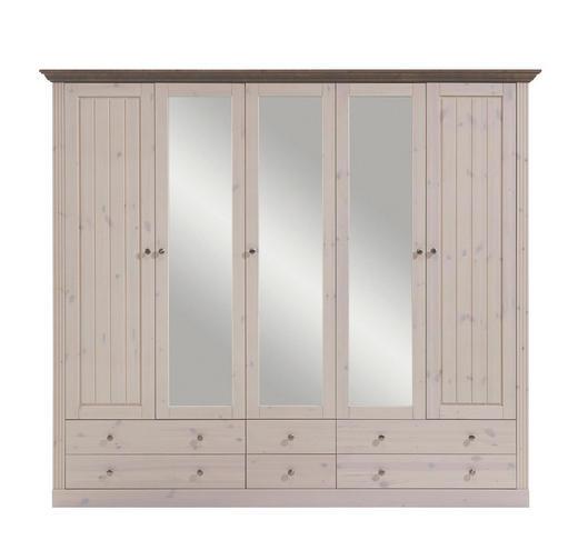 KLEIDERSCHRANK 5-türig Kiefer massiv Grau, Weiß - Edelstahlfarben/Weiß, LIFESTYLE, Holz/Metall (228/202/60cm) - Carryhome
