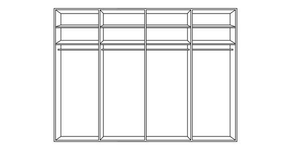 SCHWEBETÜRENSCHRANK in Grau, Lärchefarben  - Chromfarben/Lärchefarben, Design, Glas/Holzwerkstoff (300/217/67cm) - Dieter Knoll