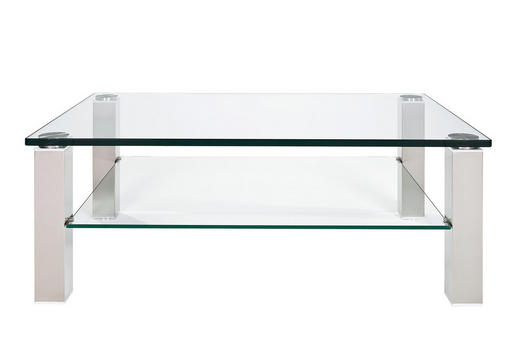 COUCHTISCH rechteckig Nickelfarben - Nickelfarben, Design, Glas/Kunststoff (120/43/80cm)