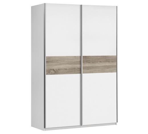 SCHWEBETÜRENSCHRANK 2-türig Weiß, Sonoma Eiche  - Alufarben/Weiß, Design, Holzwerkstoff/Metall (120/190,5/61,2cm) - Carryhome