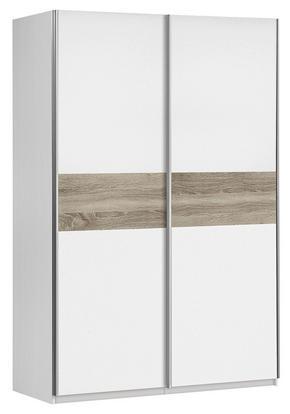 SKJUTDÖRRSGARDEROB - vit/Sonoma ek, Design, metall/träbaserade material (120/190,5/61,2cm) - Low Price