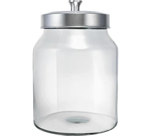 AUFBEWAHRUNGSDOSE  2,9 l  - Klar/Edelstahlfarben, Basics, Glas/Kunststoff (16/23cm) - Homeware