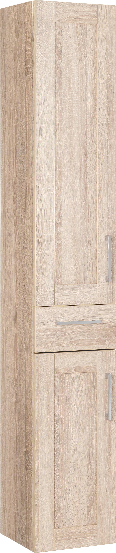 HOCHSCHRANK - Eichefarben/Alufarben, KONVENTIONELL, Holzwerkstoff/Metall (30/182.5/31.5cm) - XORA