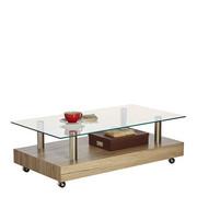 COUCHTISCH in Edelstahlfarben, Eichefarben - Edelstahlfarben/Eichefarben, Trend, Glas/Holzwerkstoff (110/60/35cm) - Carryhome