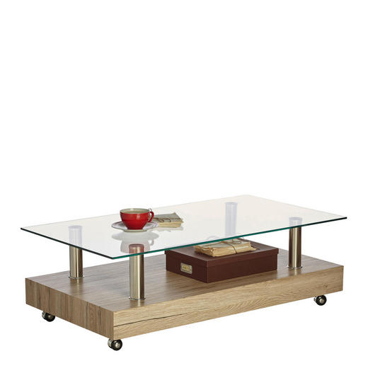 COUCHTISCH rechteckig Edelstahlfarben, Eichefarben - Edelstahlfarben/Eichefarben, Trend, Glas/Kunststoff (110/60/35cm) - Carryhome