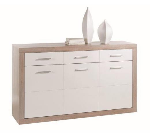KOMODA - bijela/boje hrasta, Design, drvni materijal/drvo (147/89/37cm) - Xora