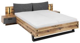 BETTANLAGE in Anthrazit, Fichtefarben  - Fichtefarben/Anthrazit, Design, Holzwerkstoff/Textil (180/200cm) - Xora