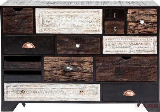 KOMMODE Mangoholz teilmassiv Braun, Schwarz, Weiß - Schwarz/Alufarben, Trend, Holz/Holzwerkstoff (114/80/35cm) - KARE-Design
