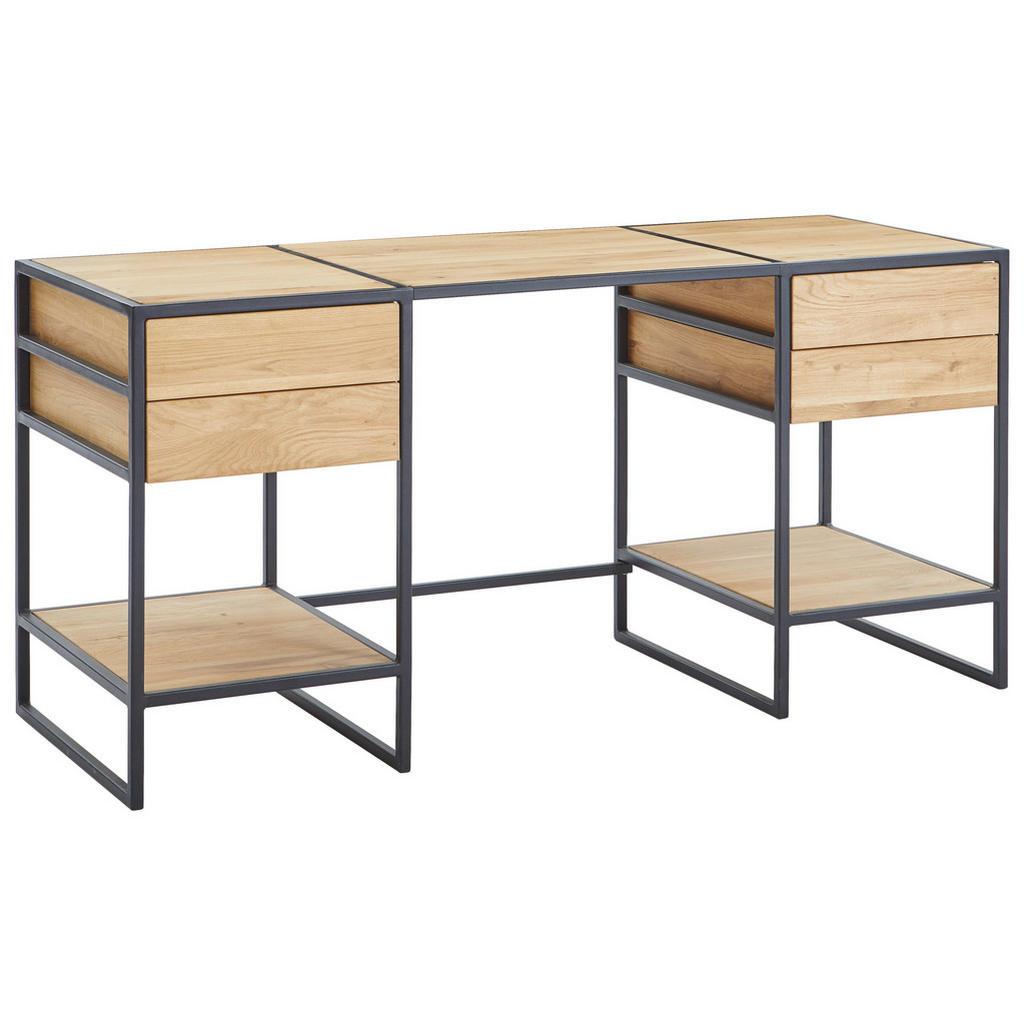 Livetastic Schreibtisch , Eiche , Holz , Eiche , 4 Schubladen , rechteckig , Kufe , 60x75.5 cm , Arbeitszimmer, Schreibtische, Bürotische