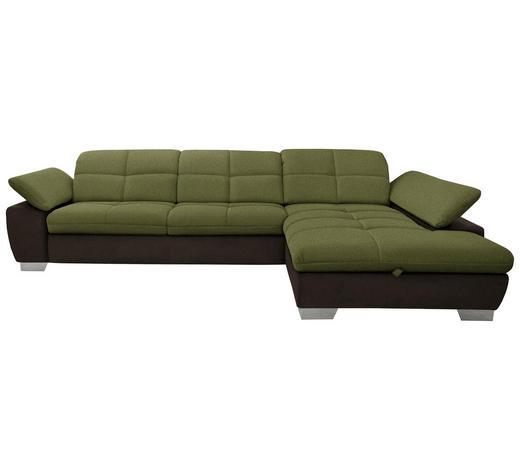WOHNLANDSCHAFT in Textil Braun, Grün - Chromfarben/Braun, Design, Textil/Metall (297/204cm) - Xora