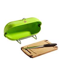 Wesco Breadboy Brotbox - Edelstahlfarben/Limette, Basics, Metall (28/43/22cm) - Wesco