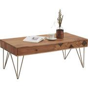 KONFERENČNÍ STOLEK, dřevo, kov, kompozitní dřevo, akácie, masivní, barvy akácie, bronzová - bronzová/barvy akácie, Trend, kov/dřevo (115/60/45cm) - Ambia Home