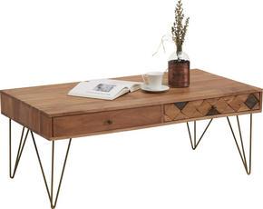 SOFFBORD - bronsfärgad/akaciefärgad, Trend, metall/trä (115/60/45cm) - Ambia Home