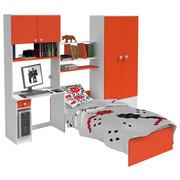 POKOJ PRO MLÁDEŽ - oranžová/bílá, Design, kompozitní dřevo (274/202/50cm) - Cantus