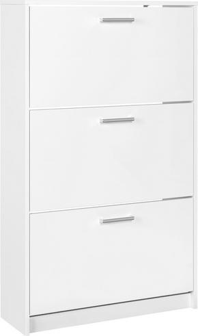 SKOSKÅP - vit/kromfärg, Klassisk, träbaserade material/plast (75/124/25cm) - Low Price