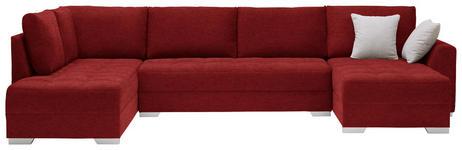 WOHNLANDSCHAFT in Textil Rot - Silberfarben/Rot, Design, Kunststoff/Textil (208/350/168cm) - Xora