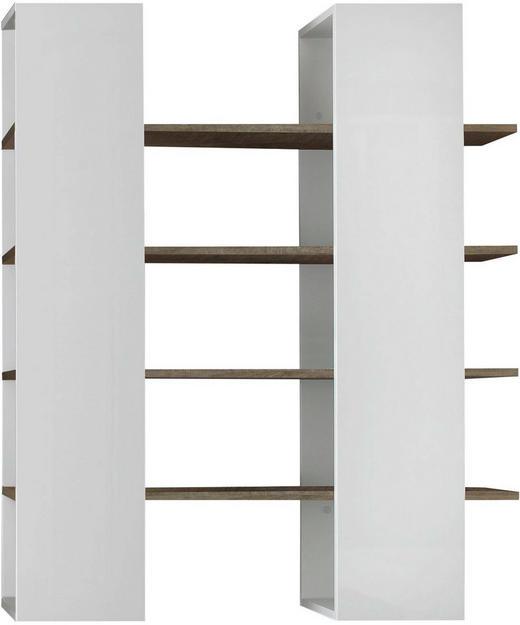 REGAL in 132/161/36 cm Weiß, Eichefarben - Eichefarben/Weiß, Design, Holzwerkstoff (132/161/36cm) - Carryhome