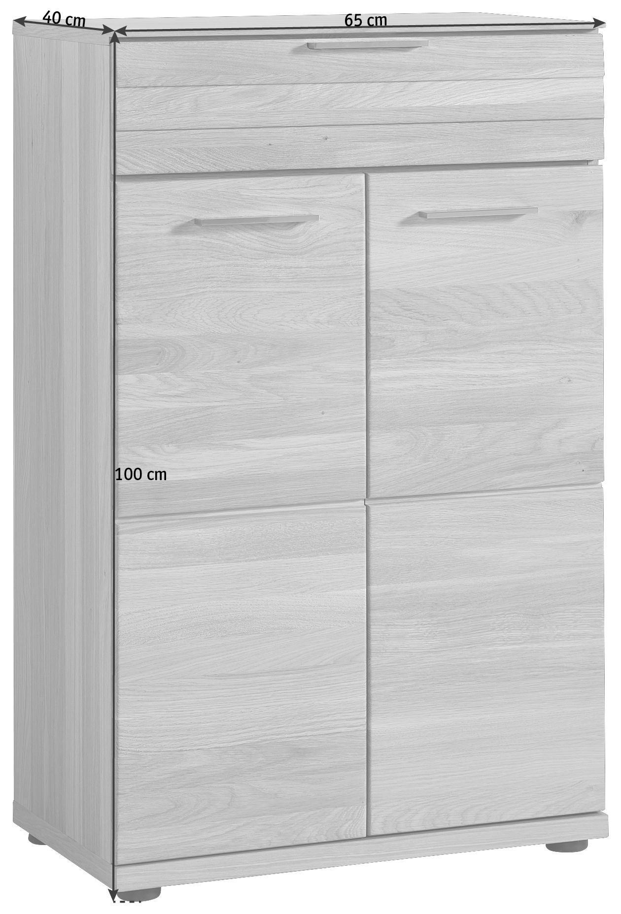 SCHUHSCHRANK - Edelstahlfarben/Eichefarben, Design, Holzwerkstoff/Metall (65/100/40cm)