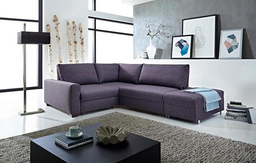ECKSCHLAFSOFA Flachgewebe Aubergine - Aubergine, Design, Textil (222/88/257cm) - Bali