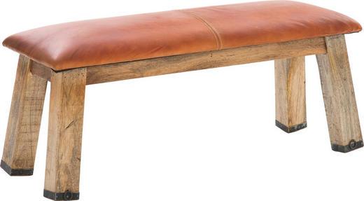 SITZBANK Echtleder Mangoholz massiv Braun - Braun, Design, Leder/Holz (110/43/37cm) - CARRYHOME