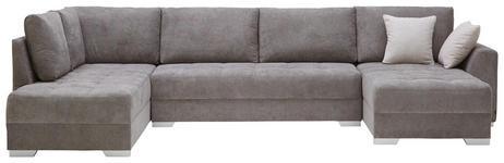 WOHNLANDSCHAFT in Textil Grau - Silberfarben/Grau, Design, Kunststoff/Textil (208/350/168cm) - Xora