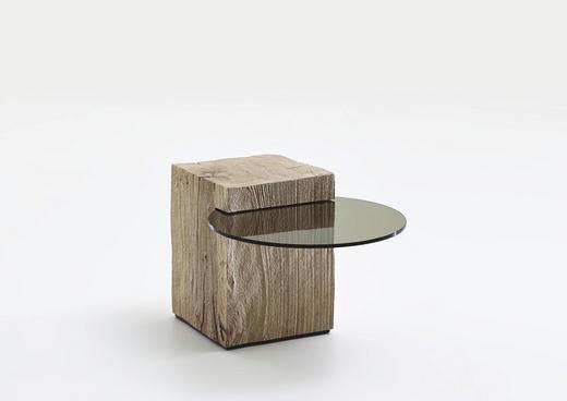 BEISTELLTISCH Kerneiche vollmassiv rund Eichefarben - Eichefarben, Design, Glas/Holz (58/40/36cm) - Valnatura
