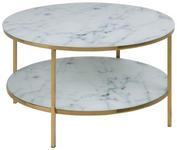 COUCHTISCH in Metall, Glas 80/80/45 cm   - Goldfarben/Weiß, Trend, Glas/Metall (80/80/45cm) - Carryhome