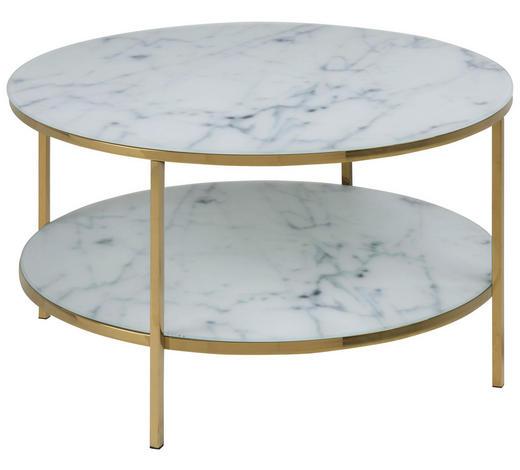 COUCHTISCH in Metall, Glas  80/45 cm  - Goldfarben/Weiß, Trend, Glas/Metall (80/45cm) - Carryhome