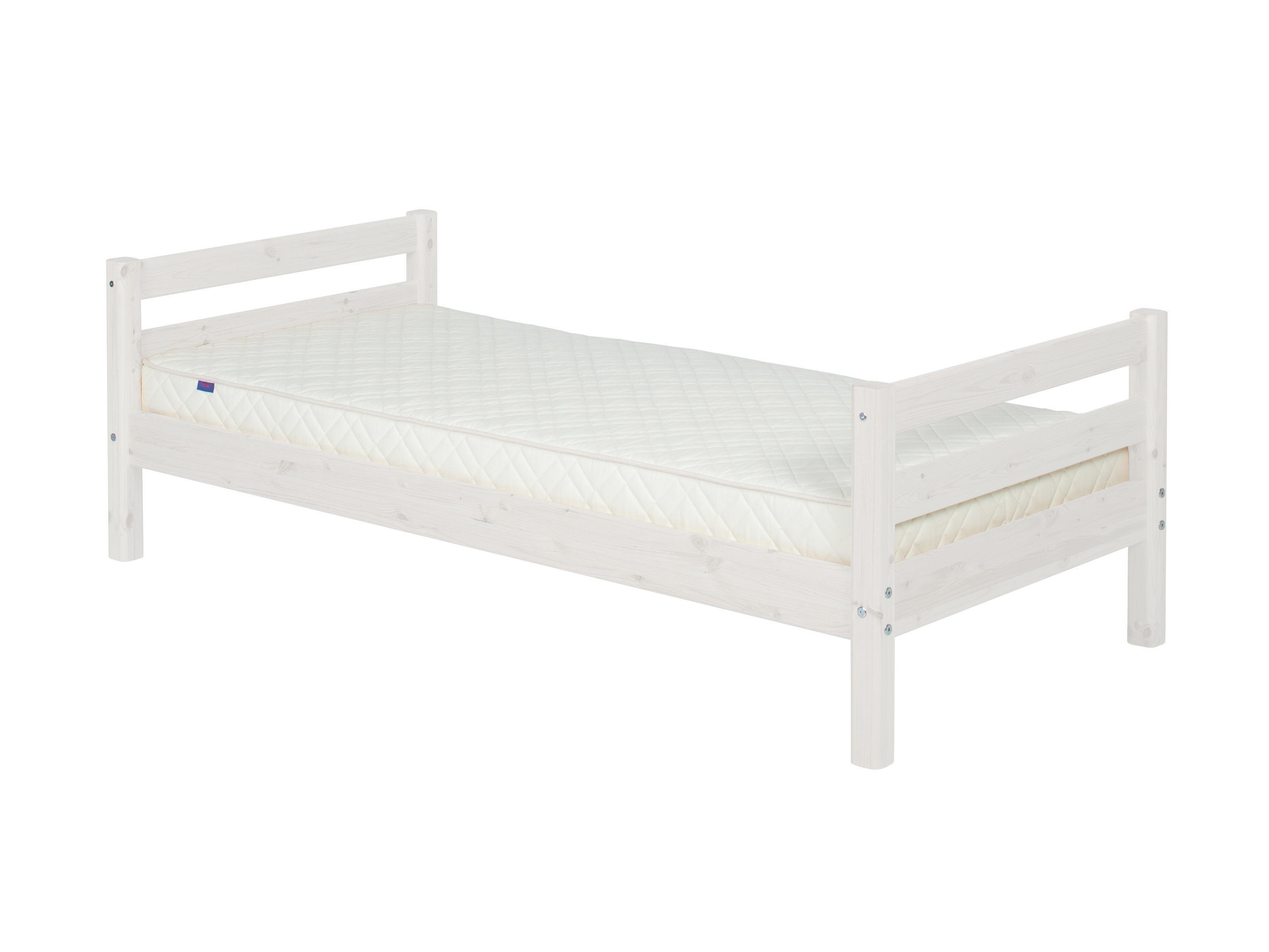 BETT Kiefer massiv - Weiß/Kieferfarben, MODERN, Holz (100/67/210cm) - FLEXA