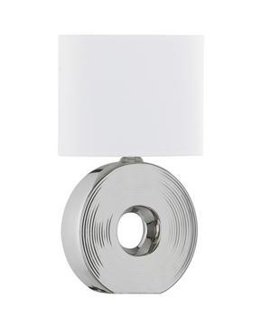 BORDSLAMPA - vit/silver, Klassisk, textil/keramik (38cm)