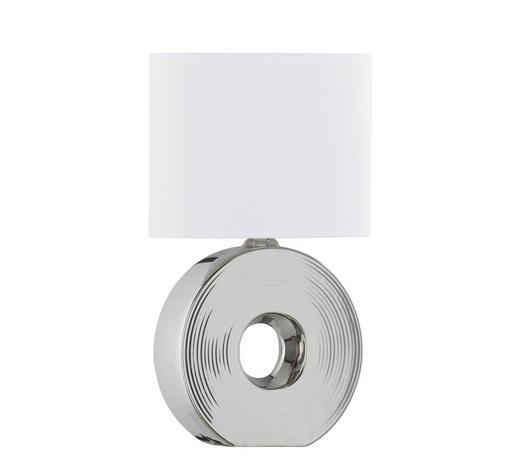 TISCHLEUCHTE - Silberfarben/Weiß, KONVENTIONELL, Keramik/Textil (38cm)