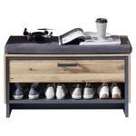 GARDEROBENBANK 90/50/38 cm  - Graphitfarben/Braun, Trend, Holzwerkstoff/Textil (90/50/38cm) - Voleo