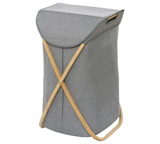 KOŠ NA PRÁDLO, hnědá, šedá - šedá/hnědá, Basics, dřevo/textil (40/68/46cm)