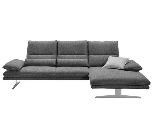 WOHNLANDSCHAFT in Textil Anthrazit  - Chromfarben/Anthrazit, Design, Textil (291/164cm) - Chilliano