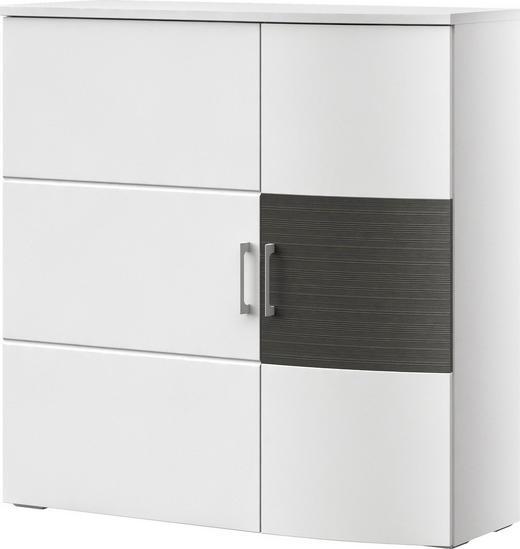 KOMMODE Graphitfarben, Weiß - Chromfarben/Graphitfarben, Design, Holzwerkstoff/Kunststoff (105/104,9/40cm) - XORA