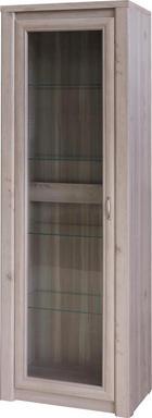 VITRÍNA, barvy dubu - barvy dubu/světle žlutá, Konvenční, kov/dřevěný materiál (64/197/40cm) - Cantus