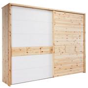 SCHWEBETÜRENSCHRANK in massiv Zirbe Weiß, Zirbelkieferfarben - Zirbelkieferfarben/Weiß, Natur, Glas/Holz (300/225/65cm) - Valnatura