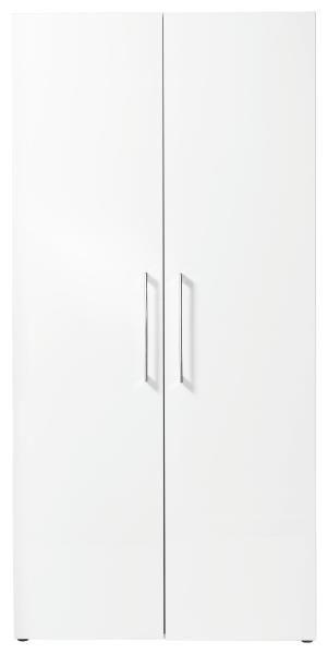 DREHTÜRENSCHRANK in Weiß - Chromfarben/Weiß, Design, Holzwerkstoff/Metall (100/208/57cm) - WELNOVA