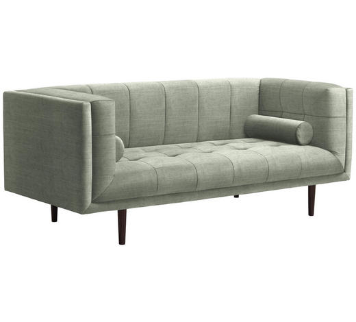 SOFA in Textil Hellgrau - Dunkelbraun/Hellgrau, Design, Holz/Textil (200/80/87cm) - Carryhome
