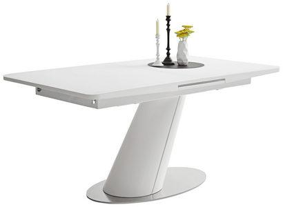 MATBORD - vit/rostfritt stål-färgad, Design, metall/glas (160(200)/90/76cm) - Novel