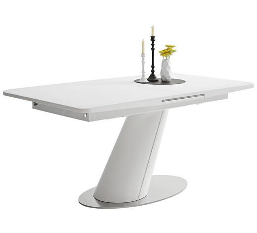 JEDILNA MIZA, bela, nerjaveče jeklo  - bela/nerjaveče jeklo, Design, kovina/steklo (160(200)/90/76cm) - Novel