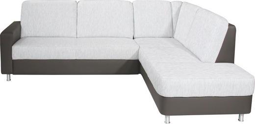Ecksofa Dunkelbraun, Hellgrau Webstoff - Dunkelbraun/Hellgrau, KONVENTIONELL, Textil/Metall (245/200cm) - Xora