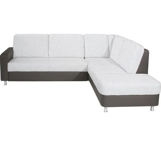 Ecksofa Hellgrau, Dunkelbraun Webstoff  - Dunkelbraun/Hellgrau, KONVENTIONELL, Textil/Metall (245/200cm) - Xora