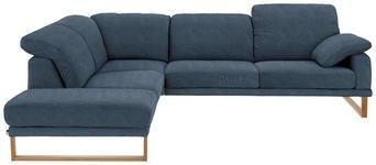 WOHNLANDSCHAFT in Blau Textil - Blau/Eichefarben, Natur, Holz/Textil (226/281cm) - VALNATURA